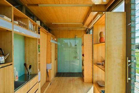 Single forty foot with a glass enclosed shower at one end.