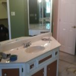 This bathroom started pretty plain, then we updated everything.